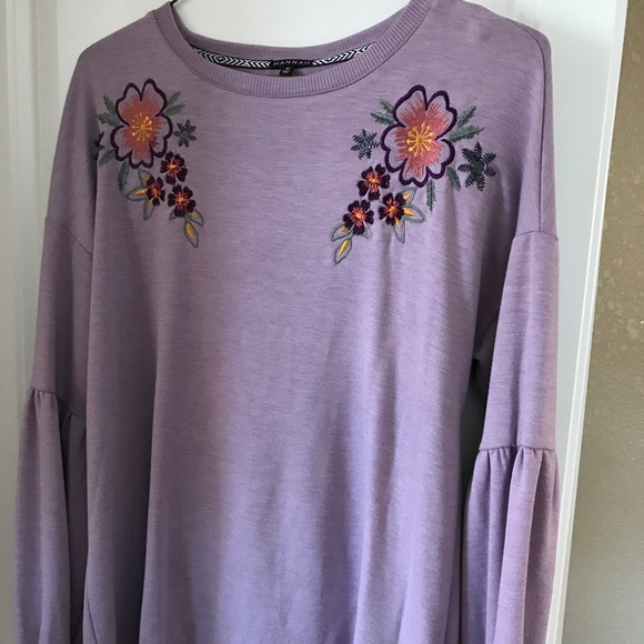 Hannah Tops - Beautiful Plum Embroidered Shirt